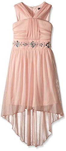 Jeweled Neckline Dress - My Michelle Girls' Big High Low Dress with Jeweled Waistband and Ruched Top with Y Neckline, Blush, 16