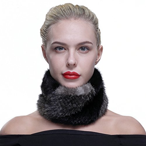 Mink Fur Headband Scarf - URSFUR Winter Mink Scarf Fur Cowl Women Headband Black & Gray