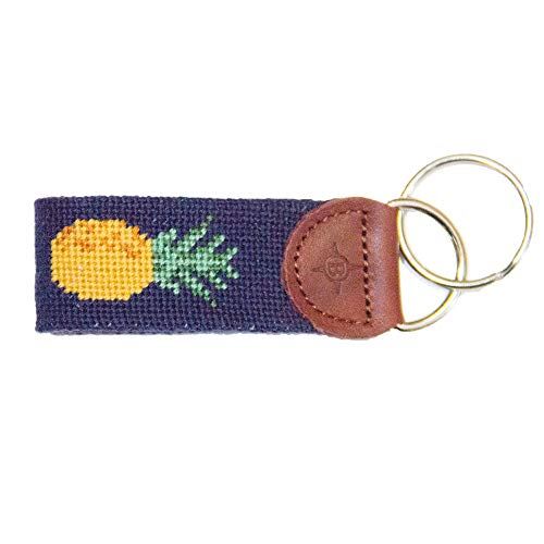 Islanders Hand-Stiched Needlepoint and Leather Key Fob for Keychains, Pineapple/Blue, One Size