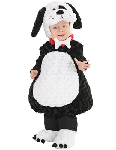 Underwraps Costumes Toddler Baby's Puppy Costume - Belly Babies Furry Puppy Costume, Black/White, Large - Comfortable Toddler Halloween Costumes