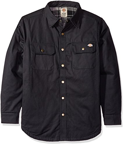 Dickies Men's Relaxed Fit Peached Twill Shirt Jacket, Bla...