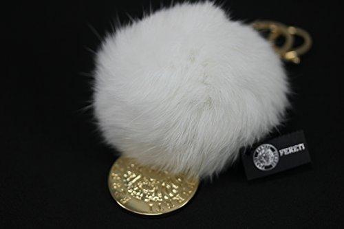 FERETI Portachiavi pompom bianchi pelliccia Coniglio decorazione di borsa