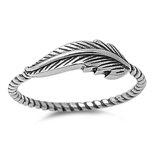 Blue Apple Co. Petite Dainty Feather Ring 925 Sterling Silver Sideways Feather Twisted Braided Rope Band 4-13