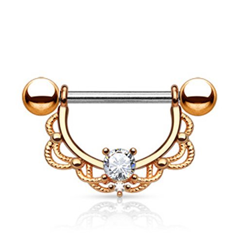 CZ Centered Filigree Drop 14kt. Gold Plated 316L Surgical Steel Nipple WildKlass Rings (Sold as Pair) (Ring 14kt Filigree)