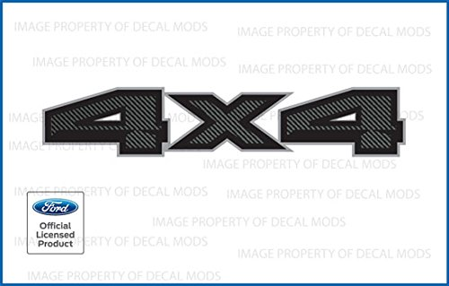 2015 Decals - Decal Mods 4X4 Decals Bedside Truck Stickers for Ford F150 Carbon Fiber Black Pattern (2015,2016,2017,2018) - FCFB (Set of 2)