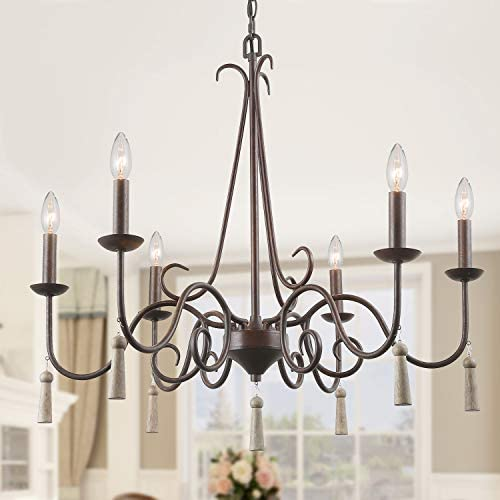 LALUZ Rustic French Country Chandelier Large Farmhouse Light Fixture with Wood Drops for Dining Living Rooms, Bedrooms and Foyer