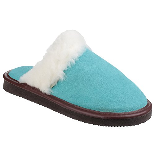 Slipper Womens Fur Blue Cotswold Ladies Mule Radway Trim Lightweight pwqn14qa