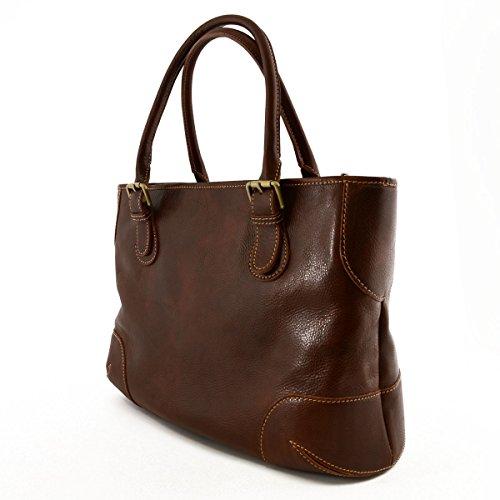 Damen Echtes Leder Schultertasche Mit 2 Inneren Fächer Farbe Braun - Italienische Lederwaren - Damentasche