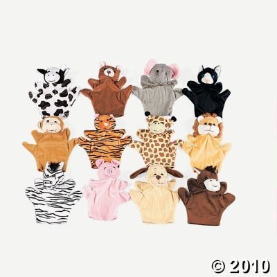 6 Plush Velour Animal Hand Puppets