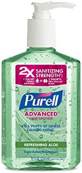 Purell Advanced Instant Hand Sanitizer with Aloe, 8 oz. Pump Bottle (Pack of 2)