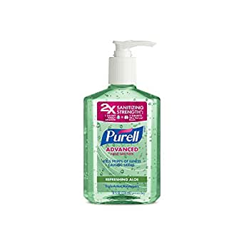 PURELL Advanced Hand Sanitizer with Aloe - Hand Sanitizer Gel 8 fl oz Table Top Pump Bottle (Pack of 2) - 9674-06-EC2PK