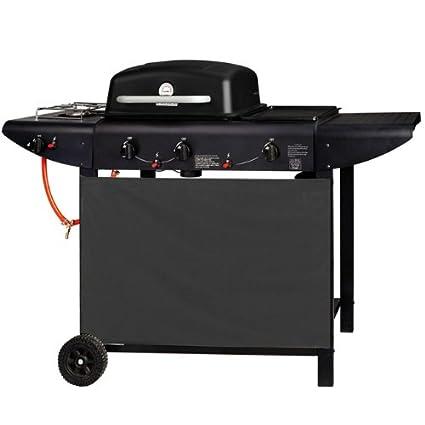 Barbacoa a gas y 3 fuegos placa lateral Plancha con ruedas