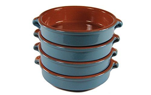 Mediterranean Blue Terra Cotta Cazuelas - 4.5 Inches (4 Dishes)