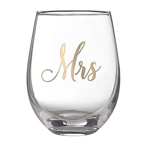 Lillian Rose G115 MS Gold Mrs. Stemless Wine Glass, Holds 16 oz, Yellow (Yellow Rose Wine)