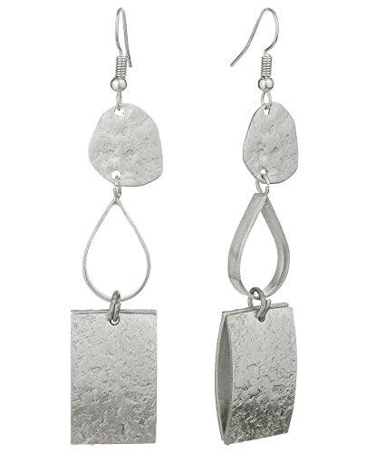 ut Hammered Metal Dangle Pierced Earrings, Silver-Tone ()