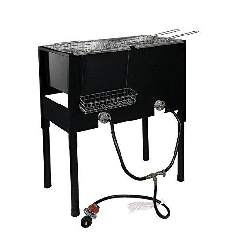 (XtremepowerUS High-Pressure Freestanding Triple Basket Deep Fryer Dual Burner Propane Fish Cooker Fry Basket Fryer)