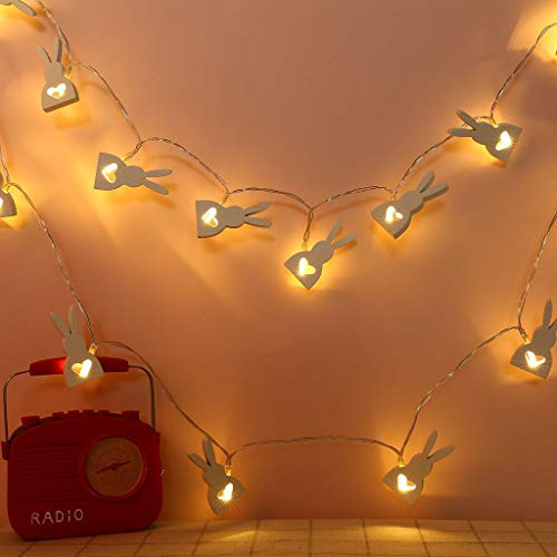 (Excursion Home String Lights - Creative Cute Rabbit - 6.5 Ft 20 LED Light - Waterproof Outdoor & Indoor Decorative Lights for Bedroom, Garden, Patio, Wedding, Parties - Dream Fairy Lights (Black))