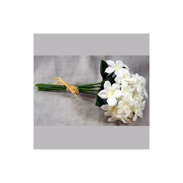 Classic Silk White Stephanotis 5 Stems Wrapped in Raffia – 3 Bouquets of 5
