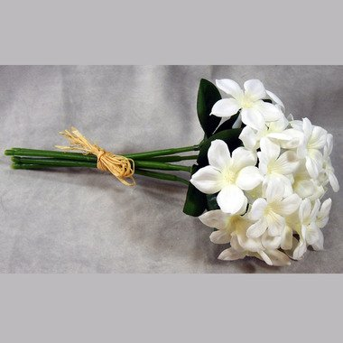 (Classic Silk White Stephanotis 5 Stems Wrapped in Raffia - 3 Bouquets of 5)