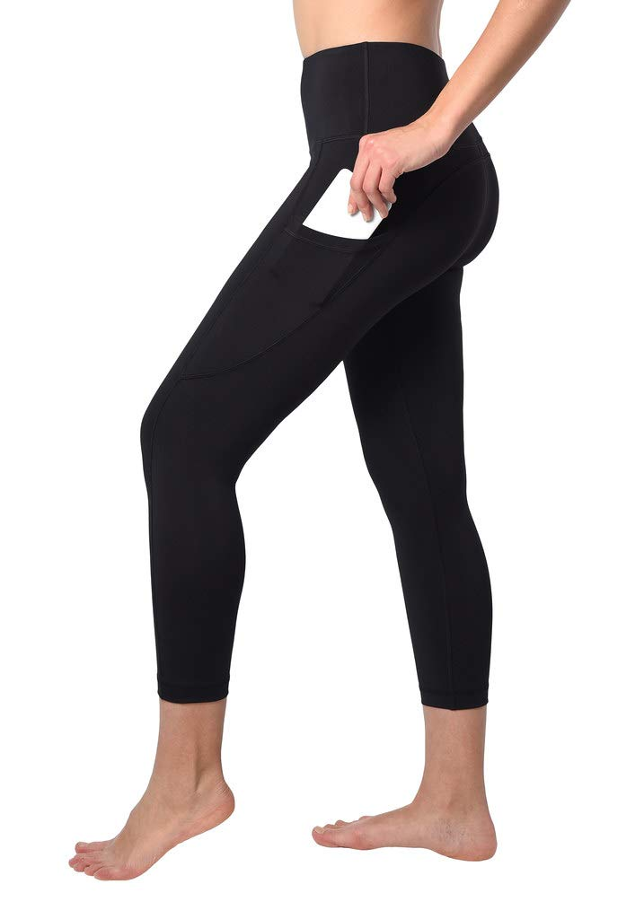 90 Degree By Reflex 22'' Yoga Capris - Yoga Leggings - Yoga Capris for Women - Black with Pocket - XS