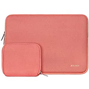 MOSISO Laptop Neoprene Sleeve Bag Cover Compatible with 13-13.3 Inch Laptop/MacBook Pro/MacBook Air,Water Repellent Lycra Carrying Cover with Small Case, Living Coral