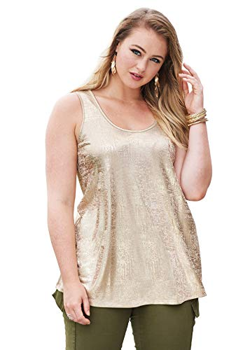 (Roamans Women's Plus Size Scoopneck Metallic Tank Top - Sparkling Champagne Metallic, 12)