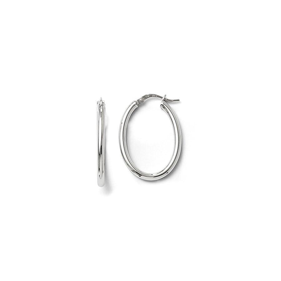 2.5mm Polished Oval Hoop Earrings in Sterling Silver, 27mm (1 1/16 in)