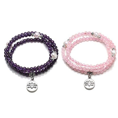 (CrystalTears 108 Natural Amethyst Rose Quartz Healing Energy Crystal & Cultured Pearl Beads w/Lotus Flower Pendant Multi-Wrap Bracelet~Buddha Prayer Mala Necklace)