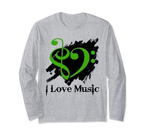 Treble Clef Bass Clef Green Heart Grunge Brush Strokes Bassist Long Sleeve T-Shirt