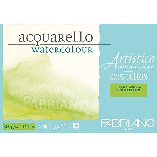 Fabriano ATW BL 4CO 25°F Echtbuetten Watercolour Paper Tap Emuehl 5x 7-inch, White 30021218