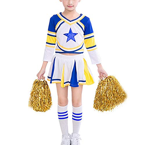 iiniim Girls Cheer Leader Uniform Costume Soccer Baby Outfit Cheerleading Crop Top with Skirt Knee Socks Set