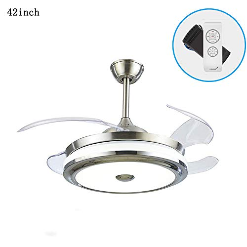 36 Inch Ceiling Fans with Lights and Remote Control, Modern 4 Blade Invisible Ceiling Fan with 3-color LED Ceiling Fan Lights for Dining Living Room Bedroom 36 inch