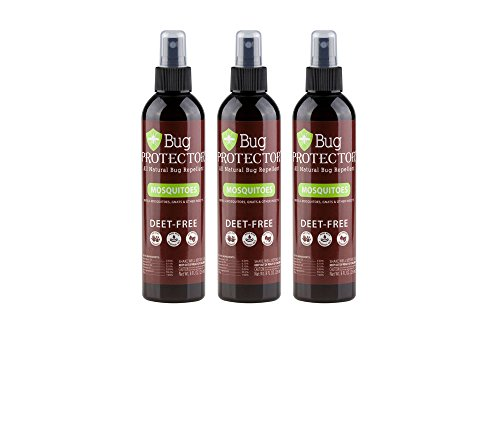 Bug Protector All Natural Mosquito/Insect Repellent Spray - DEET Free-8 oz (3 Bottles)