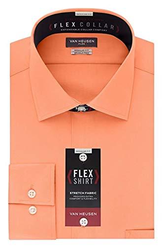 - Van Heusen Men's Flex Collar Regular Fit Solid Spread Collar Dress Shirt, Harvest Stretch, 17.5