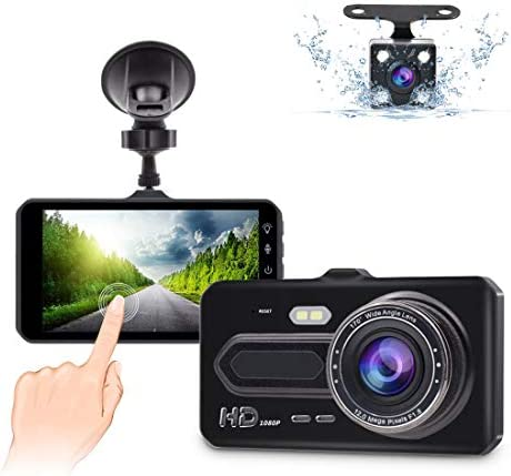 Dual Dash Cam Front and Rear,GEREE 1080p HD Car DVR Dashboard Camera Recorder with Night Vision, 4 inch IPS Touch Screen, 170 Super Wide Angle, G Sensor, Parking Monitor, Motion Detection, WDR