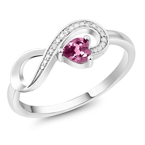 Gem Stone King 10K White Gold 0.21 Ct Heart Shape Pink Tourmaline Diamond Infinity Ring Available 5,6,7,8,9