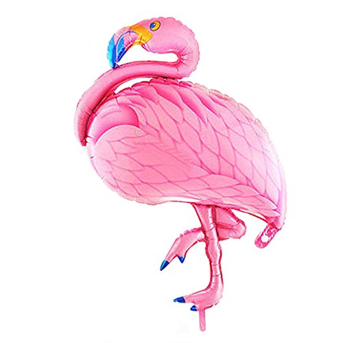 Glanzzeit 30 Inch Flamingo Balloons Animal Mylar Foil Decor Balloons for Baby Shower Bridal Shower Birthday Party Hawaiian Luau Party | Air Filling Only (Pink) -
