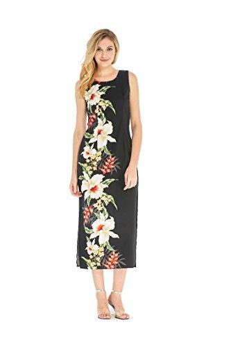 Made in Hawaii Women's Hawaiian Luau Long Tank Dress in Black Side Rafelsia Orchid XL