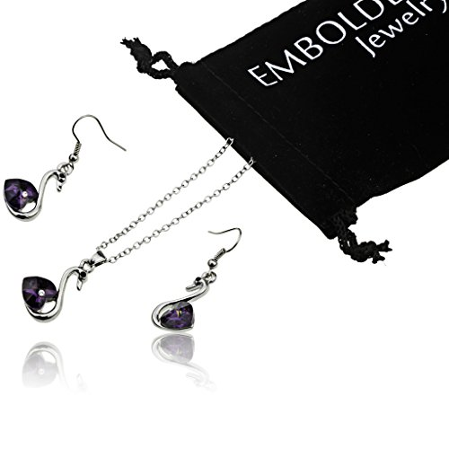 Elegant Silver Necklace and Fish Hook Earrings Set with Swan Shape Purple Cubic Zirconia Pendant for Women