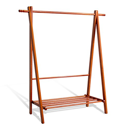 - soges Garment Clothing Rack 47 inch Solid Wood Coat Stand Storage Rack with Shelf for Hats, Bags, Shoe, Clothes Living Room Furniture, Teak BS2007-TK