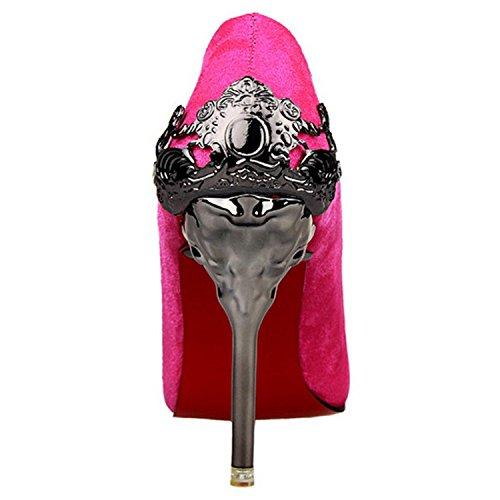 Azbro Mujer Estilete de Tacón Alto Bomba Calado Puntera Punta de Gamuza Falsa Rojo