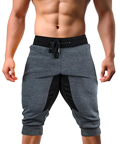 EKLENTSON Capri Joggers Men Multi-Pockets Long Shorts Men Below Knee Shorts 3/4 Pants for Men Gray ()