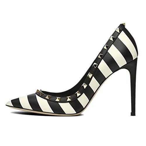 Chaussures Caitlin CM Femme 10 en Escarpins Escarpins de Robe Slip clouté Pan Haut Bout Rivet on Escarpins Élégant Clou Aiguille Zèbre Talon Talon Pointu wwRan4qr