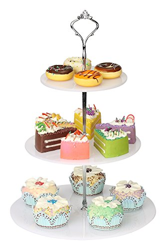 YestBuy 3 Tier Round White Acrylic Handle Cupcake Stand (Silver Crown) (Silver Crown Mine)