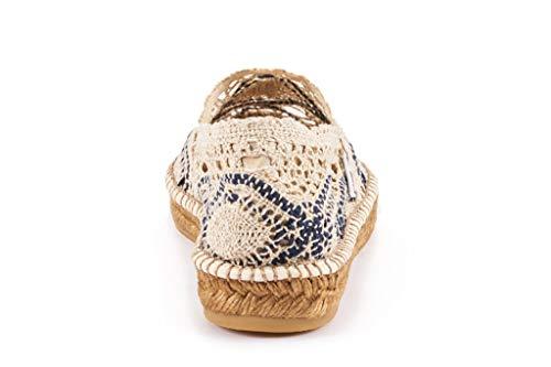 Made White Auténtica Mujeres Navy Pisos Espadrilles Viscata Crochet Original Y Garraf Ganchillo Español Las De wxqnOvf4S