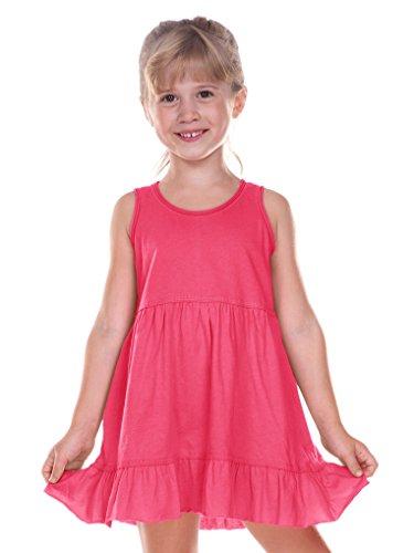 Kavio! Little Girls 3-6X Double Raw Edge Tiered Tank Dress Hot Pink 4