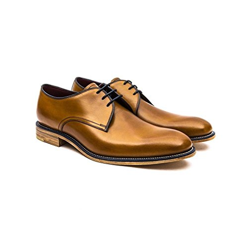 Loake Mens Black Drake Leather Derby Shoes Tan Burnished