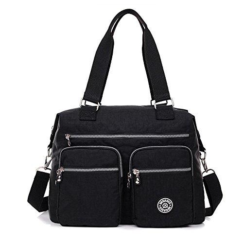 Nylon Crossbody Tote Handbags for Women Leisure Lightweight Messenger Bag Shoulder Bag with Lots of Pockets (Design Front Pocket Tote)