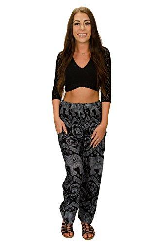 Happy Trunks Women's Hippie Yoga Elephant Pants S M L 8 Colors - Harem Pants by (Medium, Black Zig Zag)]()