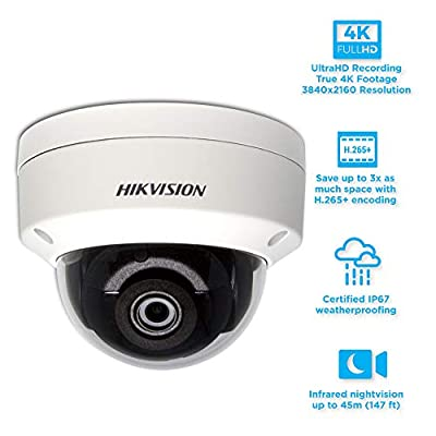 Hikvision DS-2CD2183G0-I 8.0MP 4K UltraHD Exir Dome Camera 2.8mm, IR, IP67 Weatherproof with Junction Mount Parent by Hikvision